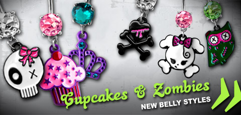 Cupcake & Zombie Belly Piercings Bauchnabelpiercings