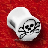 »»» WHITE SKULL ACRYL SADDLE PLUG OHR PIERCING WEISS 1457