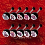 »»» 10er SET ZUNGENPIERCING MEXICAN SKULL schwarz 8327